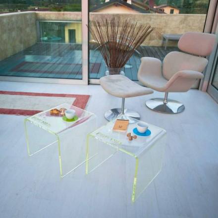 Conjunto de 2 mesas de cabeceira de design moderno em metacrilato fabricado na Itália - Leielui