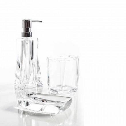 Conjunto moderno para dispensador de banheiro, vidro, saboneteira Torraca