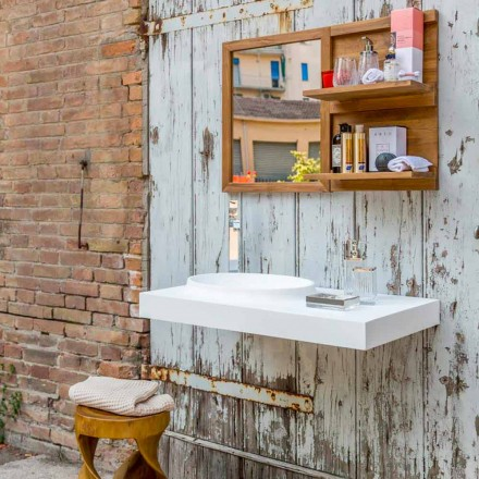 Mobiliário de casa de banho moderno suspenso definido na superfície sólida Brusson