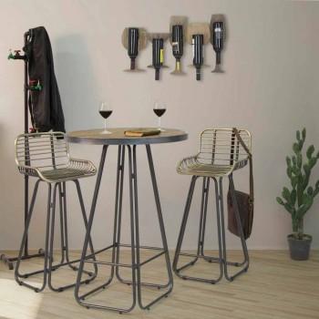 Banqueta alta com encosto de ferro de design moderno - Zelda