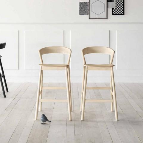 Banquinho alto para cozinha com estrutura de madeira de freixo Made in Italy - Oslo