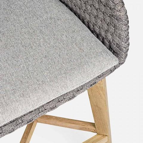 Banco alto ao ar livre Homemotion em corda e madeira de teca, 2 peças - Anitha