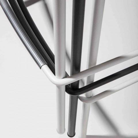 Banqueta alta empilhável de polipropileno com base de metal, 2 peças - Kiara