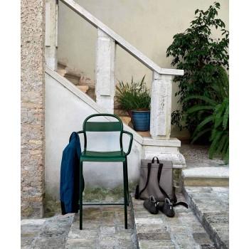 Banqueta alta para exterior em alumínio com braços fabricada na Itália - Selima