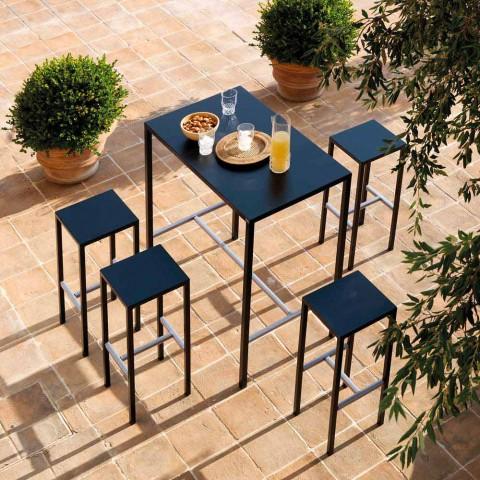 Banqueta de bar ao ar livre em metal com revestimento em pó fabricado em Itália - Meone