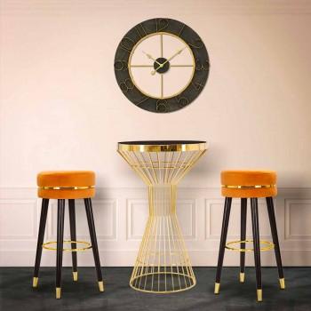 Banqueta redonda em madeira e tecido de design moderno - Rupert