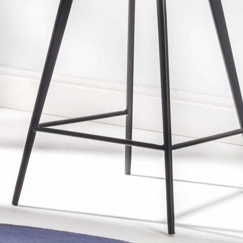 Banco de 4 pernas, H 65 em couro sintético com efeito couro falso - Ovídio