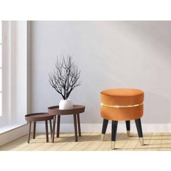 Banquinho baixo colorido moderno em madeira e tecido - Misha