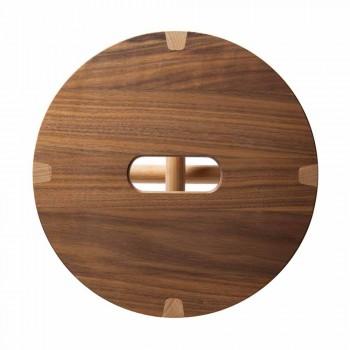 Banqueta Low Design em Faia e Nogueira Maciça Made in Italy - Nuna