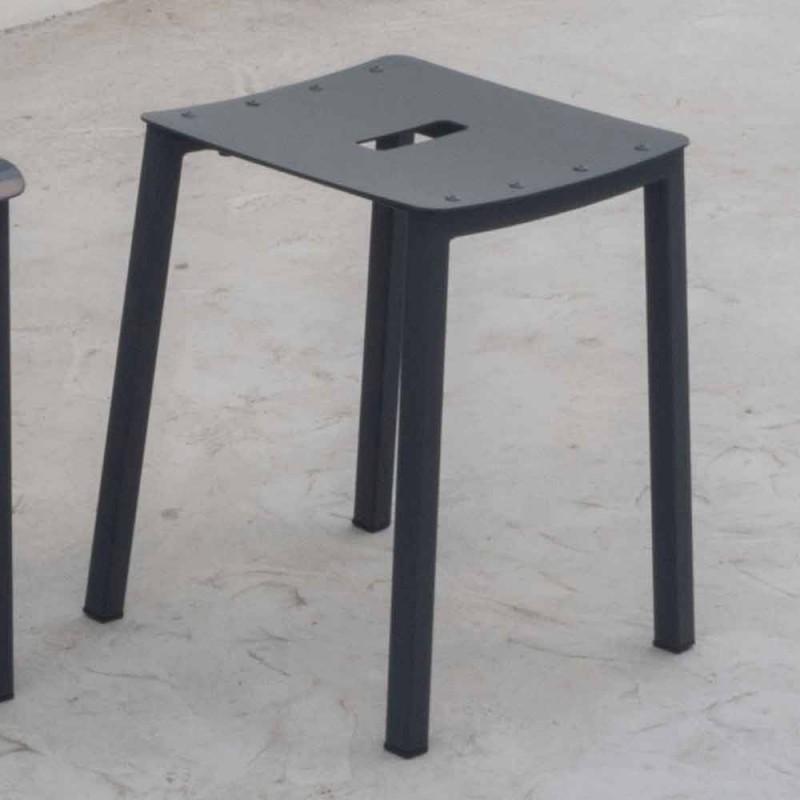 Banquinho baixo empilhável ao ar livre moderno em alumínio feito na Itália - Dobla