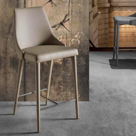 Banqueta de Design Moderno com Encosto e Base de Metal - Berenice