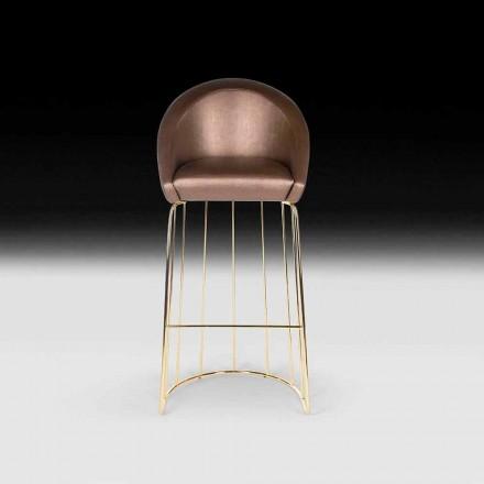 Banquinho de bar Dedo, design moderno, feito na Itália, acolchoado para trás e assento