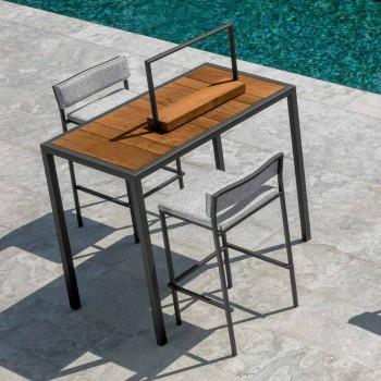 Banqueta de bar para exterior, design em aço e tecido - Casilda by Talenti