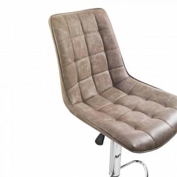 Banqueta Design com assento de couro sintético e estrutura cromada, 2 peças - Chiotta