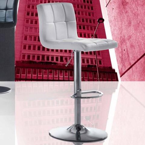 Banco moderno com design de elevação, assento de couro falso - Delfina