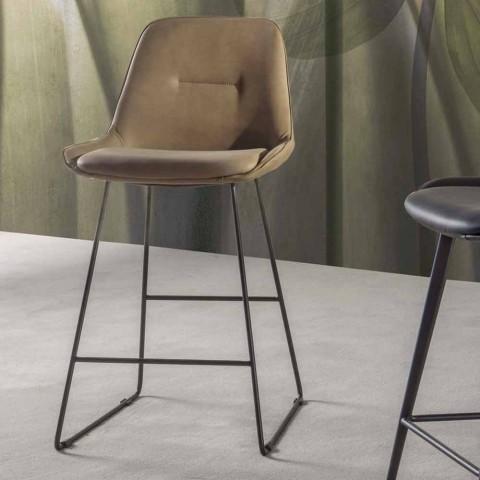 Banqueta design moderno com trenó de metal pintado - Ines