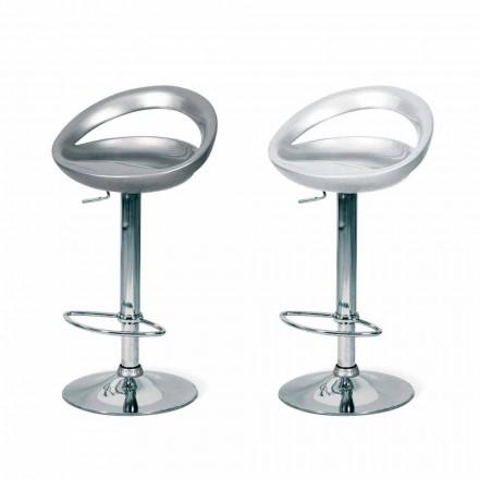 Banqueta Pollina de design moderno, com pernas cromadas