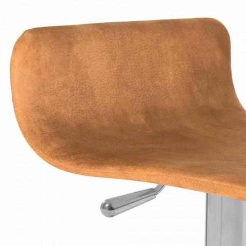 Banqueta design com assento ajustável e base cromada Inigo