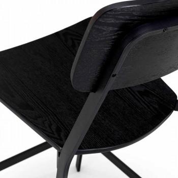 Banqueta de design moderno em madeira e metal, Elmas