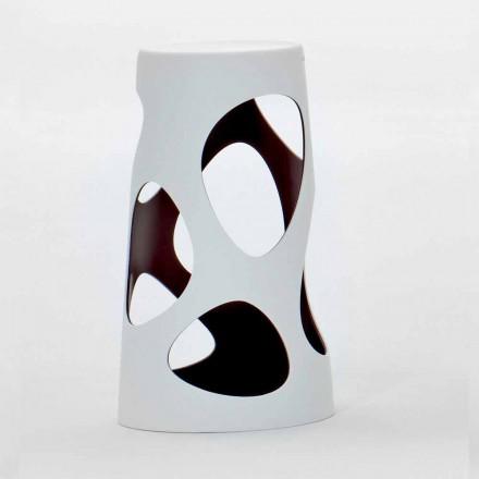 Banquinho empilhável para ambientes externos ou internos branco e preto 2 peças - Liberty by Myyour