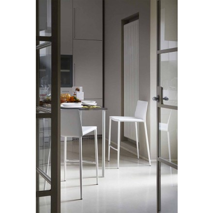 Bar moderno ou banqueta de cozinha em metal e couro ligado - Boheme