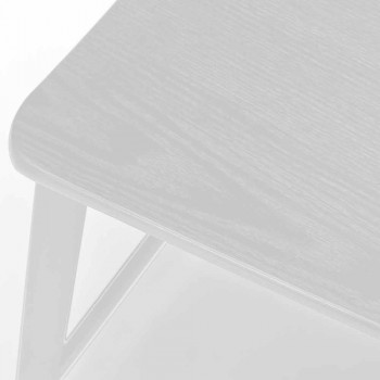 Banqueta de metal moderno com assento e encosto em madeira, 2 peças - Habibi