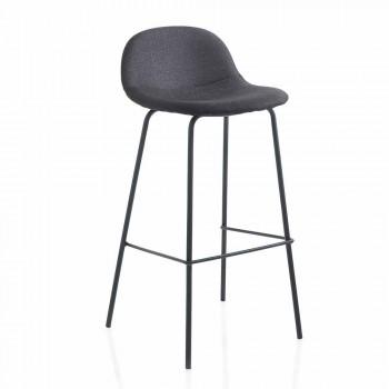 Banquinho moderno em imitação de couro ou tecido com pernas de metal, 2 peças - Billo