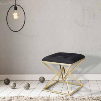 Banqueta quadrada de design moderno em ferro e tecido - geléia