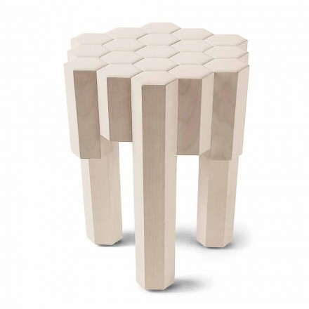 Mesa de apoio / banqueta moderna Begga em madeira maciça, L38xW38, made in Italy