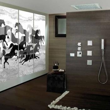 Cabeça de chuveiro com luzes LED e decorações em Swarovski Bossini Dream
