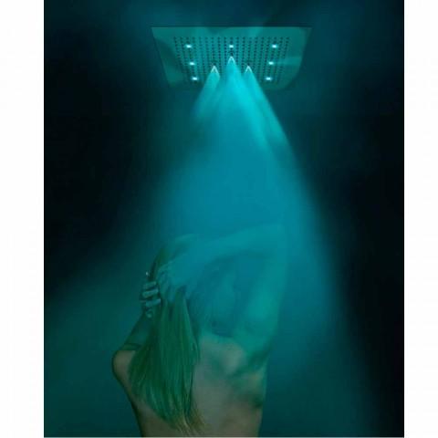Cabeça de chuveiro de teto com cromoterapia e dois jatos Dream Neb