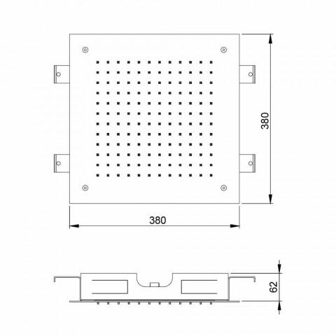 Cabeça de chuveiro quadrada de jato único em aço inoxidável fabricado na Itália - jato