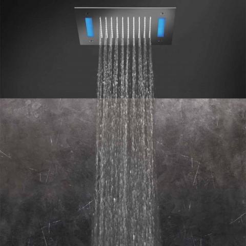 Cabeça de chuveiro de jato único de aço inoxidável com cromoterapia LED Made in Italy - Sauron
