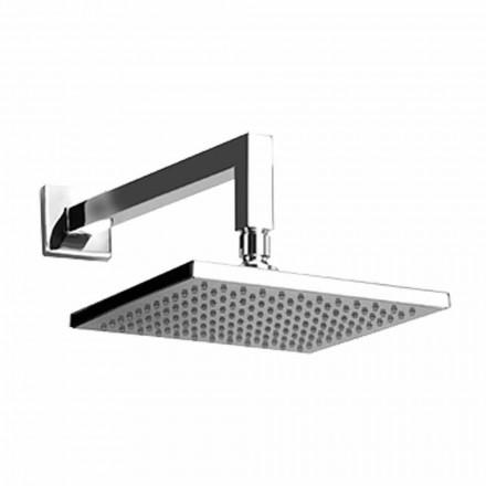 Cabeça de chuveiro quadrada de aço com braço de chuveiro de latão Made in Italy - Sespo