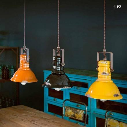 Lâmpada de suspensão industrial sino em cerâmica e metal Ruth
