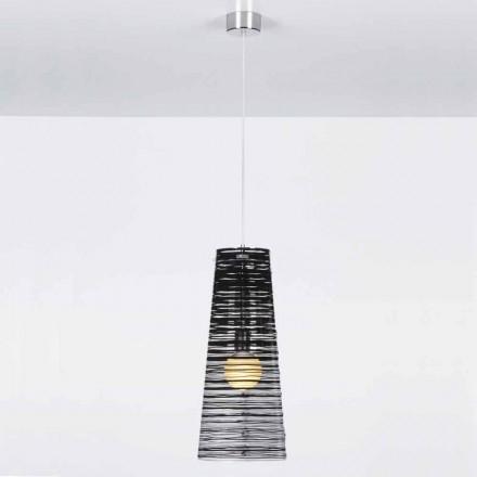 Luminária pendente design moderno Shana, com sombra transparente de 25 cm diam