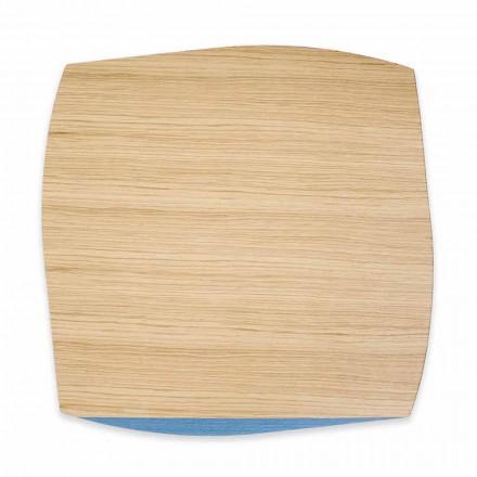 Individual quadrado moderno em madeira de carvalho fabricado na Itália, 4 peças - Abraham