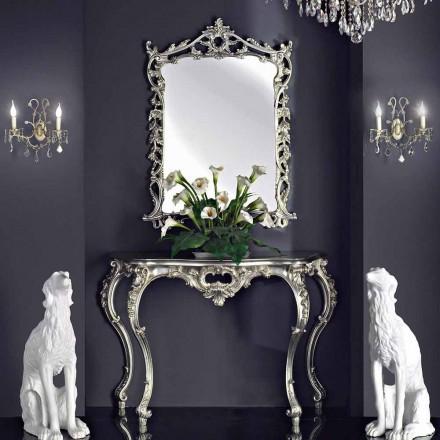 Espelho de parede, console de madeira e tampo feito à mão na Itália, Giacomo