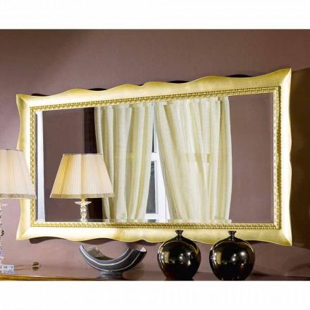 Espelho de parede feito à mão em ouro / prata madeira, made in Italy, Luigi
