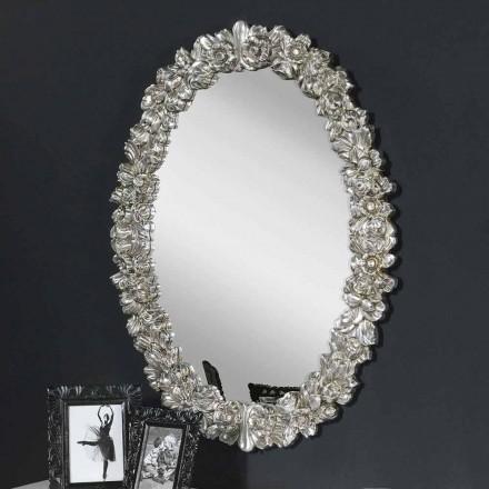 Espelho de parede moderno em madeira de abeto, completamente artesanal na Itália, Filippo