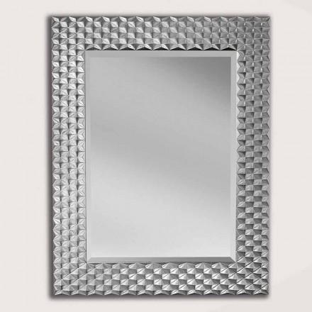 Espelho de parede prateado / dourado em madeira, produzido na Itália, Giuseppe