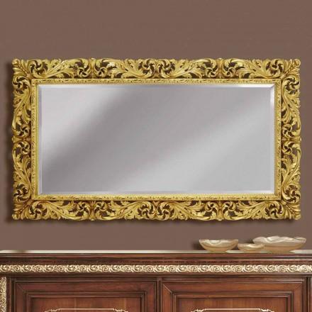 Espelho de parede de madeira com linhas modernas, feito à mão na Itália, Alex