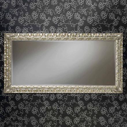 Espelho de parede feito à mão retangular de madeira, feito na Itália, Nicolò
