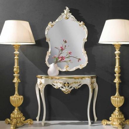 Espelho de parede de madeira, console, mdf top produzido na Itália Gianluca