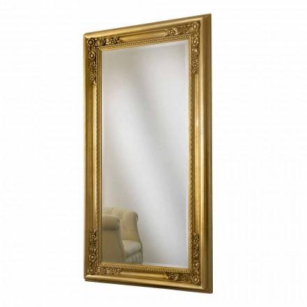 Espelho de parede de madeira de ouro / prata, completamente feito à mão na Itália, Michele