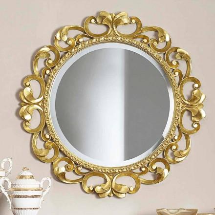 Espelho de parede feito à mão de madeira, produzido completamente na Itália, Riccardo