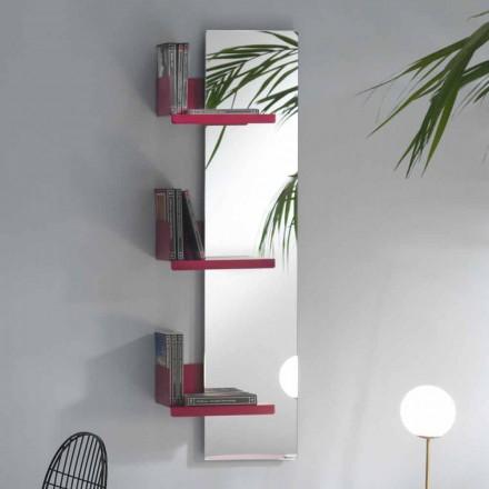 Espelho de parede e 3 prateleiras de metal colorido com design luxuoso - Noelle