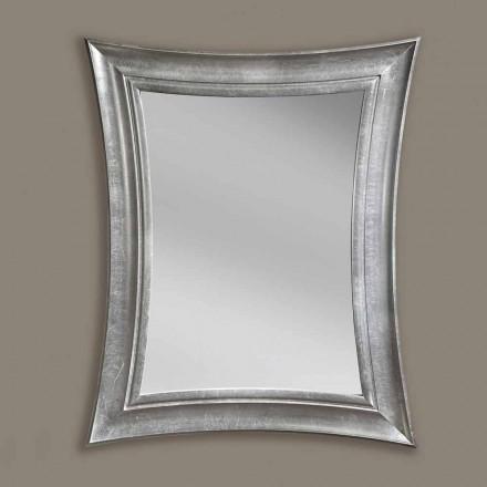 Espelho de parede feito à mão retangular de madeira Sandro, produzido na Itália