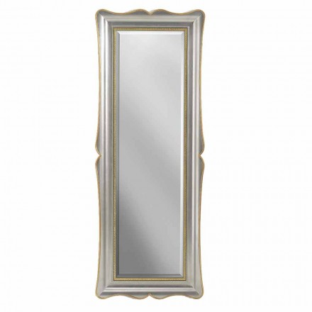 Espelho de parede de madeira de prata, marfim e ouro, fabricado na Itália, Vittorio