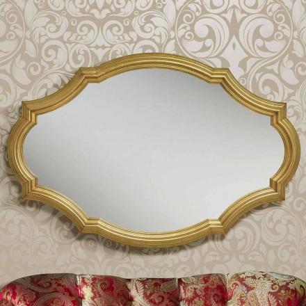 Espelho de parede moderna de prata / ouro feito de madeira, produzido na Itália Davide
